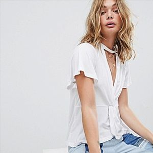Free People | White Just A Twist Tee